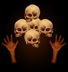 Stack of human skull with human hand vector image