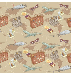 Travel seamless repeating pattern vector