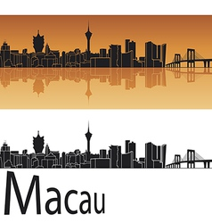 Macau skyline in orange background vector