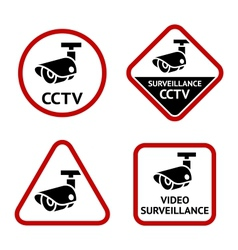 Security camera sticky labels vector