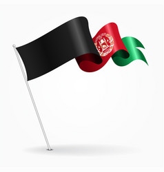afghanistan pin wavy flag vector image