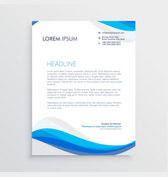 Business blue wave style letterhead template vector