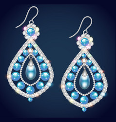 Vintage jewelry with gemstones and pearls vector