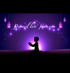 Muslim man praying silhouette at the desert night vector