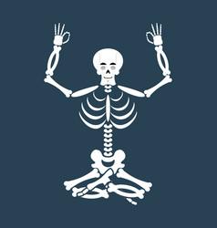 Skeleton yoga yogi dead zen and relaxation lotus vector