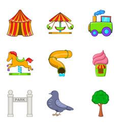 cirque icons set cartoon style vector image