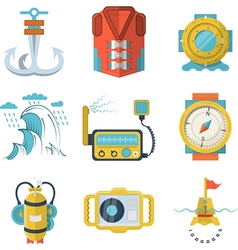 Nautical flat color design icons vector
