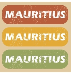 Vintage mauritius stamp set vector