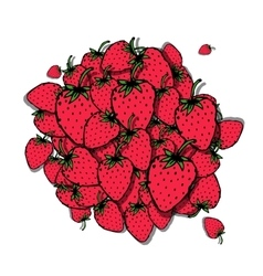 Strawberry frame sketch for your design vector