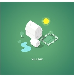 Flat isometric buildings village vector
