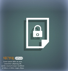File locked icon sign on the blue-green abstract vector