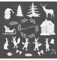 Christmas in forest silhouettes vector
