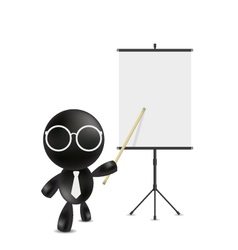 Businessman pointing at blank projection screen ba vector
