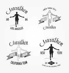 Set of marathon logotypes long distance running vector
