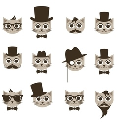 hipster cat icons set vector image