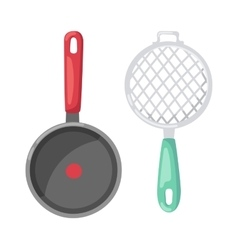 Cartoon pan cooking pot vector