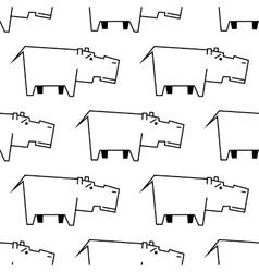 African hippopotamus sketch seamless pattern vector