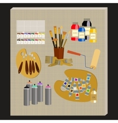 Art supplies and tools pack painting tools vector