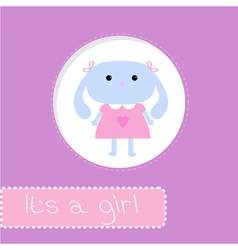 Baby shower card with bunny Its a girl vector image