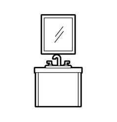Bathroom interior with sink mirror vanity cabinet vector