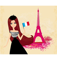 Beautiful women with france flag in paris - card vector