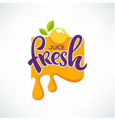 Bright sticker emblem and logo for citrus fruit vector