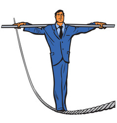 Businessman - rope walker vector