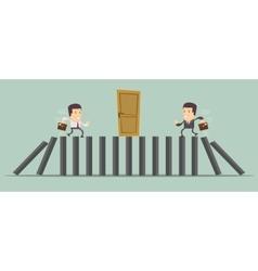 Businessman running to door vector