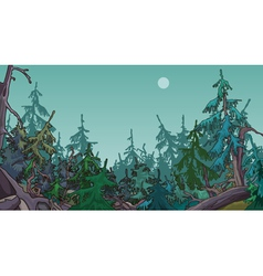 Cartoon dense coniferous forest vector