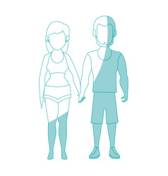 couple wearing a swimsuit icon vector image
