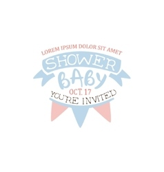 Decorated baby shower invitation design template vector