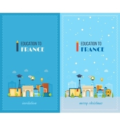 Education to france merry christmas greeting card vector