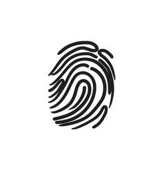 Fingerprint sketch icon vector