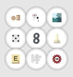 Flat icon games set of mahjong jigsaw pawn and vector