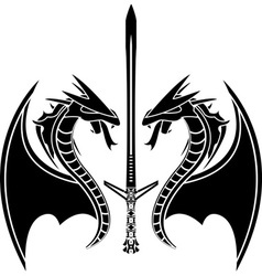 flying dragons and sword vector image