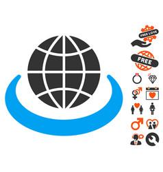 Global network icon with love bonus vector