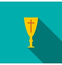 Golden holy chalice icon flat style vector