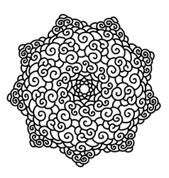 Hand drawn monochrome star mandala isolated on vector