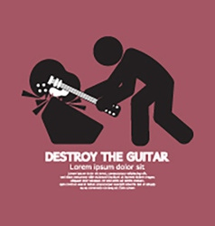 Man Destroy The Guitar Graphic Symbol vector image