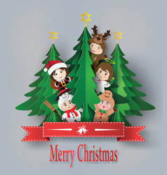 Merry christmas greeting card with children vector