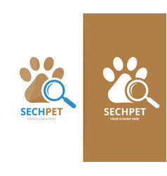 Paw and loupe logo combination pet and vector