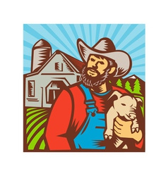 Pig Farmer Holding Piglet Barn Retro vector image vector image