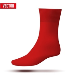 Realistic layout of red sock a simple example vector