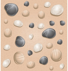 Sand seamless pattern with stones - vector