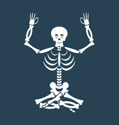 Skeleton yoga yogi dead zen and relaxation lotus vector