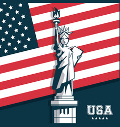Statue of liberty united states usa flag emblem vector