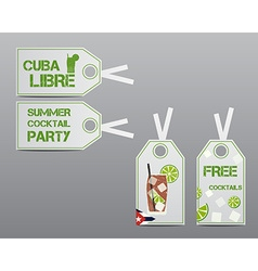 Summer cocktail party stickers and labels layout vector