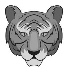 Tiger head icon gray monochrome style vector