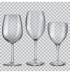 Transparent empty glass goblets for wine vector