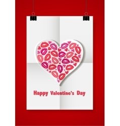 Valentine love background with a white sheet of vector